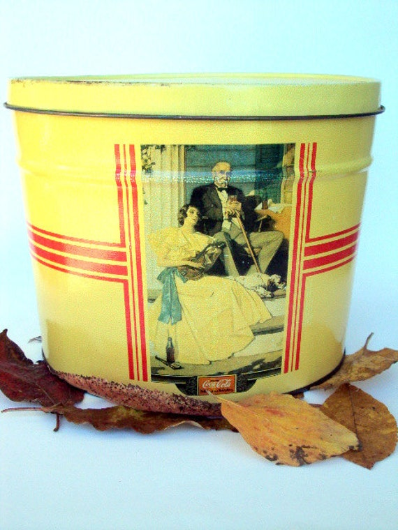 Vintage CocaCola Tin, Large, illustrated, Boy Eating With Dog, Fishing Pole, Yellow, Victorian Family cr. 1978,          I Take CREDIT CARDS