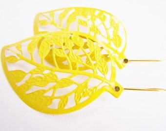 Leaf Earrings - large statement earrings - filigree - leaves - Summer jewelry - affordable gift - bright - Yellow - bold - big