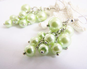 Light Green Pearl Cluster Earrings - light green - pastel pearls - weddings - bridesmaids - special occasions and everyday beach jewelry