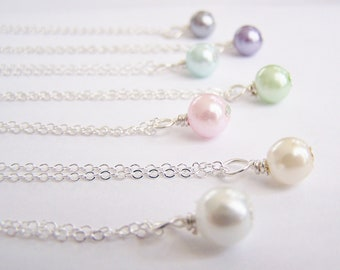 Pearl Necklace - one pearl- single pearl - choose your color - matching earrings and bracelets available - wedding - bridal - bridesmaid set