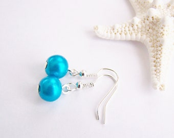 Sky Blue - FREE SHIPPING WAI - Glass Pearl Earrings - necklace also available - Petite - small - weddings - formal - bridesmaids - holiday