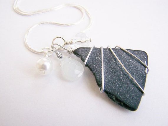 Apalachicola Flats - Natural SEAGLASS with interchangable charms - 4 in 1 Necklace - several ways to wear - free shipping w.a.i