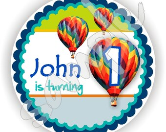 Hot Air Balloon Theme - 40 Thank You 2 inch circle Stickers - Birthday - Baby Shower - Envelope Seal - Address Label - Personalized