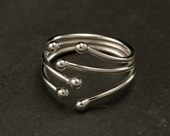 Statement Ring- Sterling Silver Wrap Ring- Sterling Silver Ring -Simple Silver Ring- Modern Silver Ring- Metalwork Ring