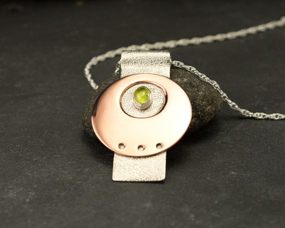 Sterling Silver Pendant- Modern Artisan Pendant -Copper Pendant with Peridot- Green Stone Necklace- Sterling Silver Jewelry Handmade