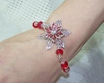 Crystal Flower Bracelet - Bridesmaids Bracelet - Ruby Red Star - Lipstick Red - Red and White Wedding - Poinsettia - Holiday Bracelet