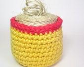 Lemon Yellow Basket Honeysuckle Pink Stripe Storage Bowl Fiber Organizer Dorm Decor Container Rug Yarn Pot
