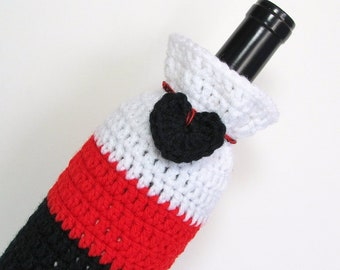 Bottle Cozee Gift Bag Snow White Crimson Red Midnight Black Heart Housewarming Cozy Valentine Present Champagne Sleeve