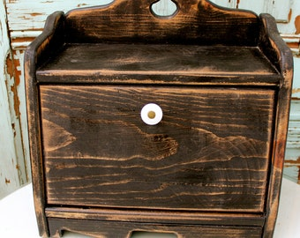Bread Box - Shabby Kitchen - Cottage Chic - Retro Kitchen - Breadbox - Distressed - Wooden - Wood -  - Organize - Counter - Food Storage