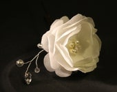 Bridal Ivory Flower Hair Fascinator, Bobby Pin with Rhinestone Crystals, Hair Clip, Wedding Accessories