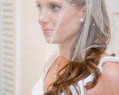"Bridal Tulle  Blusher Birdcage Veil 12"" Pearls Accents  for your Wedding"
