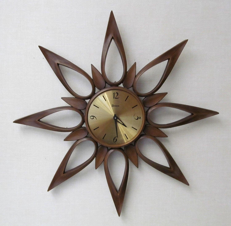 Vintage Mid Century Starburst Clock Syroco