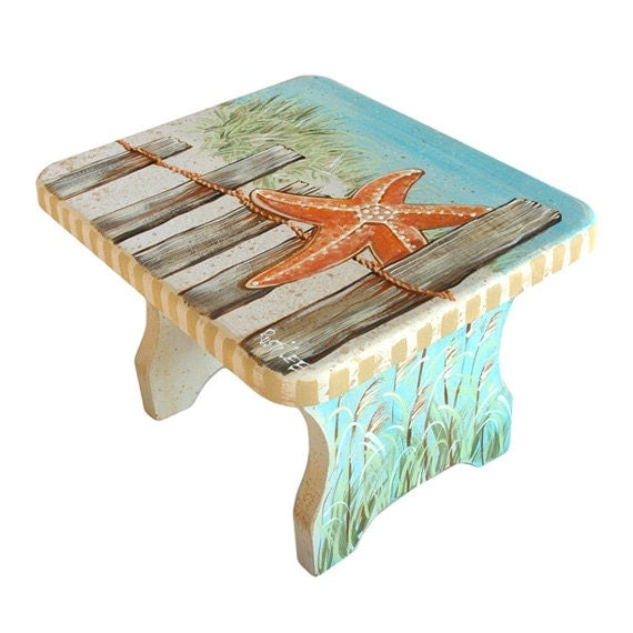 Cape Cod Style Hand Painted Stool | Handmade Decor Ideas For Decorating A Beach House