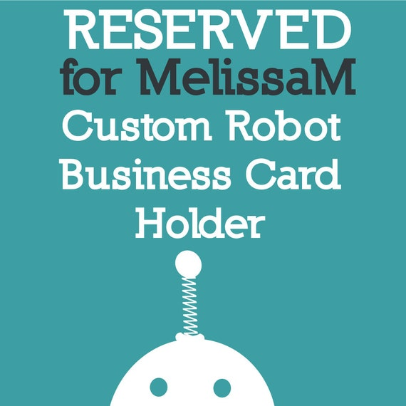 Reserved for MelissaM - Robot Business Card Holder - Clay, Wire