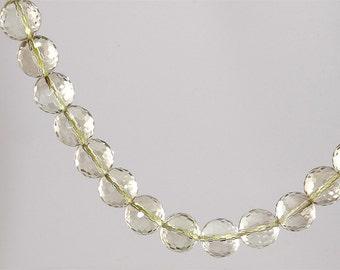 GEM GRADE QUALITY - 12mm 100% Natural Lemon Quartz Faceted Round Beads / Drilled / Sold Per Each /
