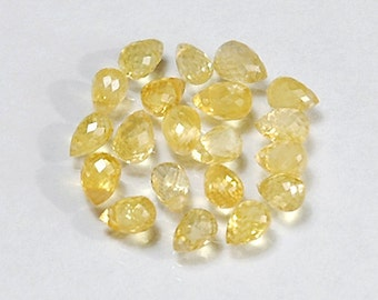 WE SELL QUALITY - Natural Yellow High Sparkle Sapphire Briolettes / Drilled / Item 2286c22