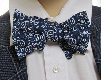 Blue Bandana Bow Tie