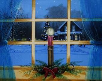 """The Christmas Candle - The Light Home 12"""" x 14"""" Thomas Hoy Original"""