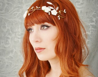 Wedding hair crown, ivory floral headband, rose crown, floral tiara, ivory flower crown, bridal hair accessories