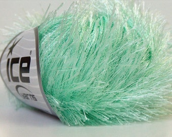 Mint Green Eyelash Yarn Ice Pale Blue-Green Fun Fur 22782  50gram