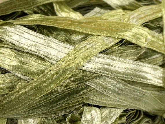Silvery Sage Greens Ice Green Shades Ribbon Yarn 18155