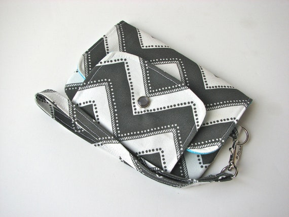 iPhone Wristlet, iPhone wallet in Charcoal Grey Chevron - ready to ship