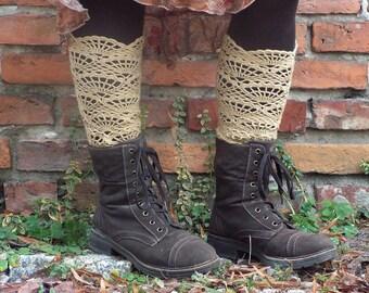 Beige crocheted open work lacy long leg warmers spats cuffs