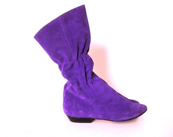 Purple Suede Pull-On Pirate Pixie Slouch Boots, Fold Over Cuff Violet Leather Calf Knee Boots, 10