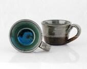 wheel thrown mugs blue  - black clay set of two
