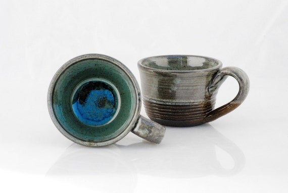 wheel thrown mugs blue  - black clay set of two