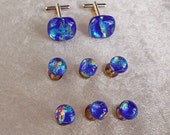 CUSTOM ORDER Fused ripple dichroic glass shirt studs and matching cufflinks