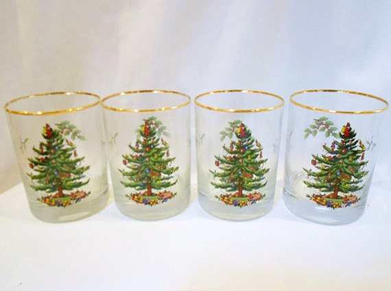 4 Vintage Drinking Glasses Spode ChristmasTree Double Old