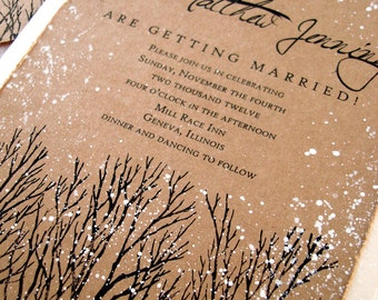 Winter Wedding Invitations rustic wedding invitations tree hand stamped and painted invitation wedding stationary