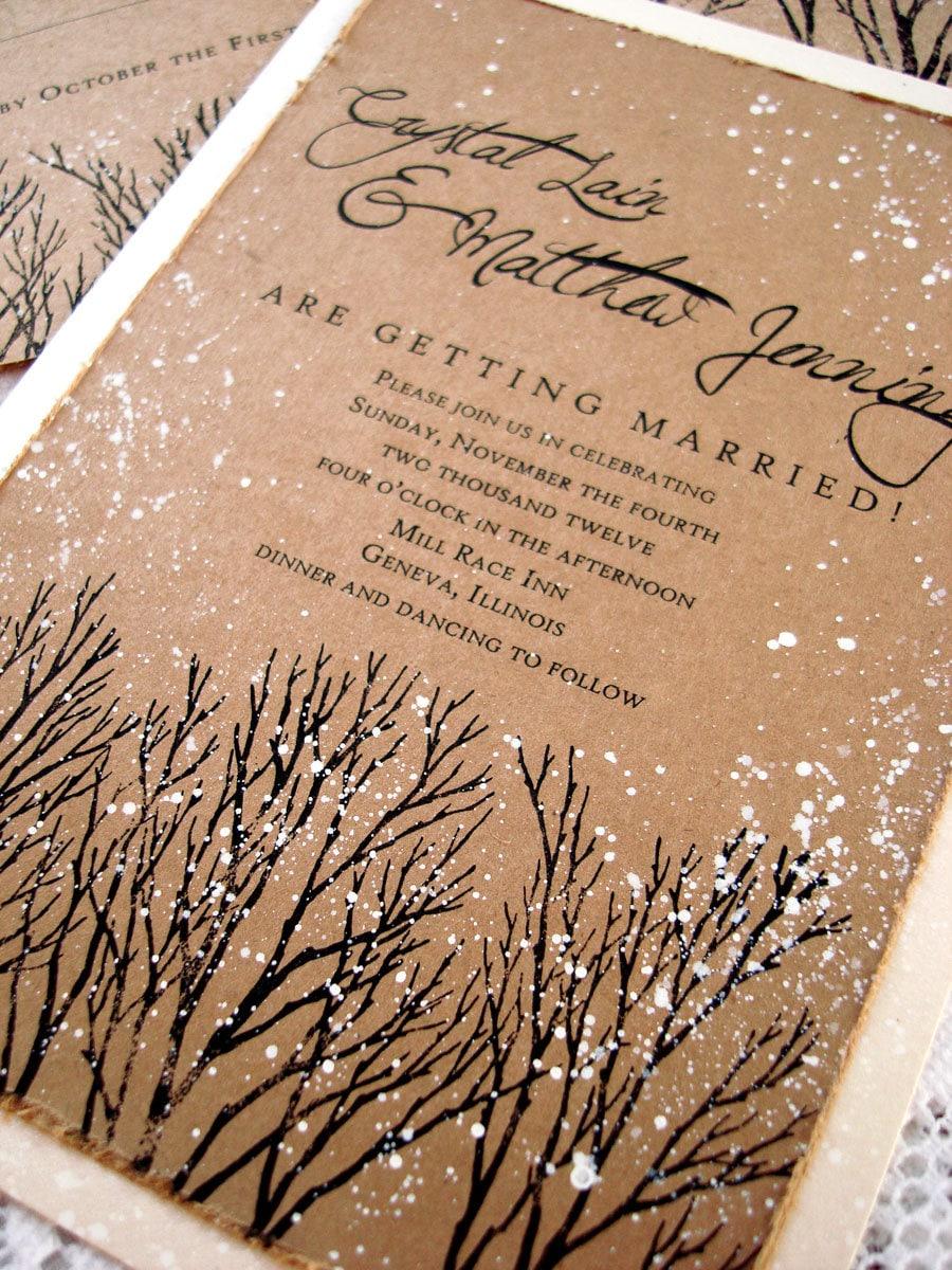 Winter Wedding Invitations rustic wedding invitations tree