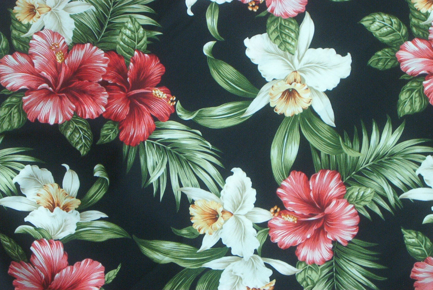 Marianne Of Maui Hawaiian Quilting Fabric Bluish Black With