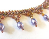 Beaded Pearls Shocker Necklace, Golden and lavender seed beads necklace, beaded jewelry