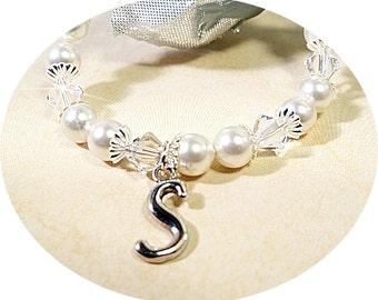 Girl Initial Bracelet, Flower Girl, Birthday, Personalized Jewelry, Kids Personalized, Kids Jewelry