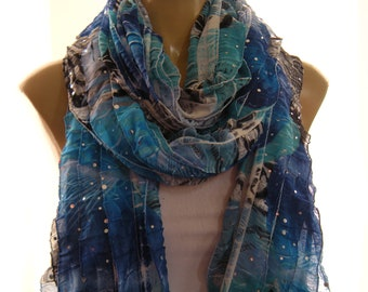 Shades of Bora Bora Sparkly blue long ruffle scarf Sequined Tube scarf- Flamenco Superstar