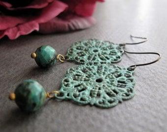 Filigree Dangle Earrings, Brass Vintage Earrings Turquoise, Rustic Verdigris Filigree Earrings Dangle - LACE