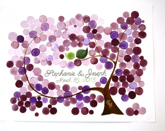 Custom Baby shower Alternative Guest Book - Anniversary gift Rustic Tree Guest book - watercolor original painting
