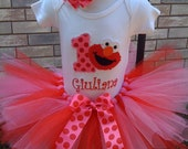Pink & Red ELMO Birthday tutu outfit-