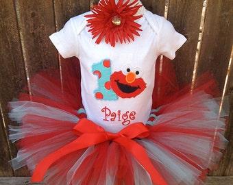 Red & Aqua Custom Boutique Monogrammed Personalized Elmo  Tutu Set