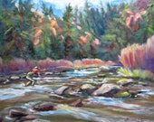 fishing landscape original oil impressionism painting fly fishing river trout mountain stream 12 x 16 fine art