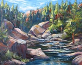 Reserved for Ann original oil landscape painting impressionism colorado mountain stream river boulders 12 x 16