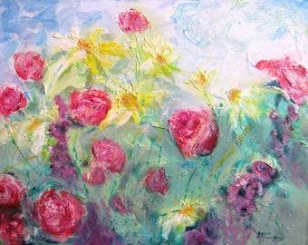 large impasto impressionism flower original oil painting garden landscape canvas palatte knife floral sunflowers roses fine art 16 x 20