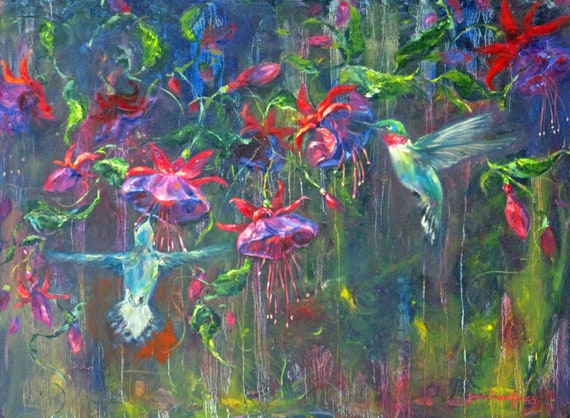 RESERVED for Kelly hummingbird original oil painting large impasto abstract fuschia canvas impressionism fine art 36 x 48