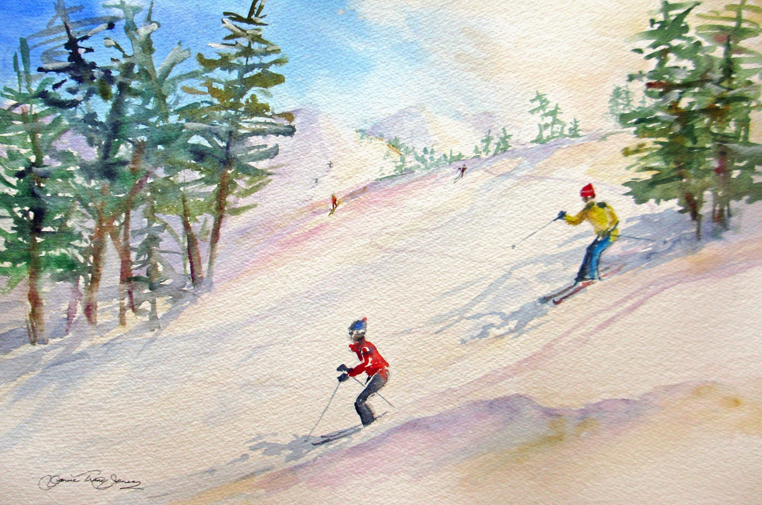 Reserved For Sandy Original Watercolor Painting Skiing Snow