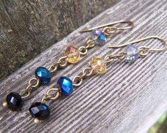 Blue Multi Faceted Glass Jewel Dangle Earrings
