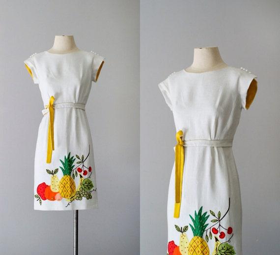 60s dress / 1960s linen mini dress / Tropicana dress