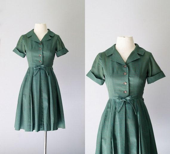 RESERVED 50s dress / 1950s cotton shirtwaist dress / Spruce Plaid dress